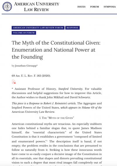 The Myth of the Constitutional Given: Enumeration and National Power at the Founding